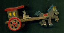 Vintage Hand Carved Miniature Wooden Horse and Stage Coach Made in Japan