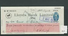 wbc. - CHEQUE - CH169 - USED -1930's - LLOYDS BANK, DISS
