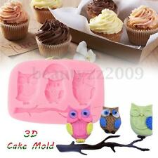 3D STAMPO TORTA TORTIERA Silicone Owl Dolci Cake Candy Baking Mold Mould Rosa