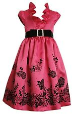 Bonnie Jean Girls 4-6x Fuschia Pink Flocked Border Party Dress 6y