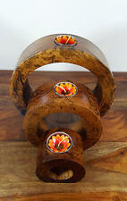 Mango Wood 3 Full Circle T- Light Holder 22,Wooden Carvings,Wood,Wooden Ornament