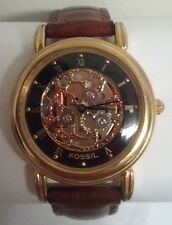 Mens Authentic Fossil Skeleton Dial Goldtone Wrist watch Model SK-4922 WORKS!