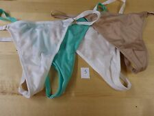 LOT of 4 NWT Victoria's Secret, V String thong panties One size White Beige Blue