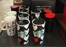 STARBUCKS White Hearts on Black 1 Red Heart Travel Tumbler NIB