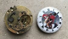 French Verge pocket watch movement repair project enamel dial with Napoleon