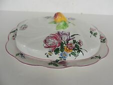 Vintage Strasbourg covered divided dish Chanticleer Fondville lunville Faiance