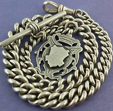 Heavy Antique English Hallmarked Solid Silver Albert Pocket Watch Chain Fob 1898