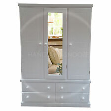 HAND MADE CAMBRIDGE TRIPLE MIRRORED WARDROBE WHITE (ASSEMBLED)