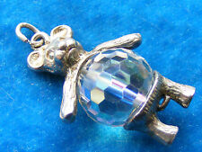 VINTAGE STERLING SILVER CHARM CRYSTAL TEDDY BEAR