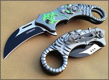 Z-HUNTER SPRING ASSISTED KARAMBIT KNIFE 5 INCH CLOSED WITH POCKET CLIP