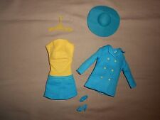 BARBIE VINTAGE MADE YELLOW TURQUOISE DRESS & MATCHING JACKET ~GORGEOUS OUTFIT