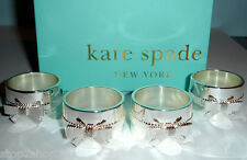 Kate Spade GRACE AVENUE Napkin Rings Set of 4 SCULPTED BOW Silverplated New