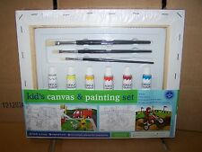 Kid's Canvas & Painting - 2 Canvas Set Bruses Acrylic Paints - NEW