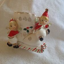 Vintage Napco Candy Cane Sled With Adorable Pixie Elves