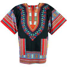 Cotton African Dashiki Mexican Hippie Tribal Shirt Blouse Black ad09rc bid
