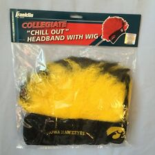 IOWA HAWKEYES  HEADBAND WITH CRAZY HAIR MOHAWK WIG HALLOWEEN TAILGATE FREE SHIP