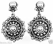 VINTAGE DESIGN TAXCO MEXICAN STERLING SILVER BEADED BEAD SCROLL EARRINGS MEXICO