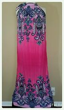 Women's Plus Size 2X Maxi Dress Pink Paisley Summer Sundress Beach Cover Up NWT