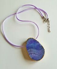 Gold Edged Purple Agate Slab Necklace