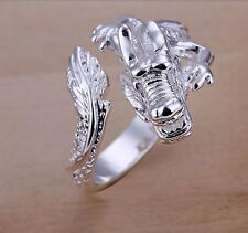 Sterling Silver Plated DRAGON RING Thumb Wrap Ring. ADJUSTABLE. Men Ladies UK