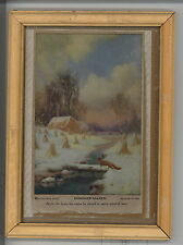 R. Atkinson Fox Snow Fox Wheat Cabin Stream Log Framed Print Around 1910
