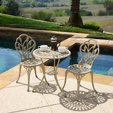 Outdoor Patio Furniture 3pc Cast Aluminum Tulip Design Bistro Set in Sand Finish