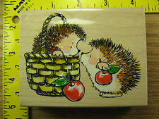 Rubber Stamp Hedgy Gift Penny Black Hedgehogs Apples Stampinsisters #716