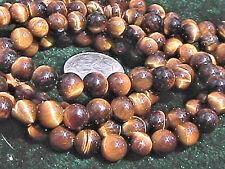 6mm Tiger Eye Gemstone Round Beads (10) TEN BEADS