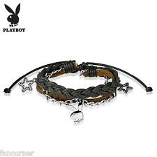 Bracelet playboy officiel cuir et chaine avec lapin playboy en acier inoxydable