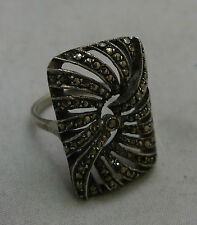 Vintage 935 Silver & Marcasite Ring Size L