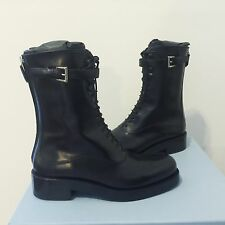 Authentic New In Box Women Prada Lace Up Leather Boot US 6.5