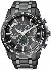 Citizen Men's AT Perpetual Chronograph Black Dial Watch World Atomic AT4007-54E
