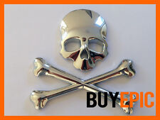 Metall Emblem SKULL, Totenkopf, Piraten CHROM, Turbo, Tuning, Universal