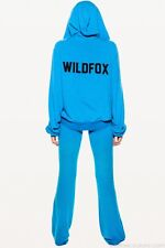 WILDFOX COUTURE TENNIS CLUB BLUE LOGO HOODIE ZIP SWEAT TOP L 14 10 42!