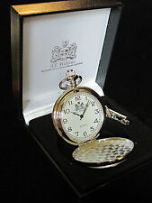 HUNT HUNTING HOUNDS ENGLISH PEWTER FACED POLISHED POCKET FOB WATCH & CHAIN & BOX