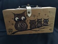 Very Vintage Enid Collins Box Bag Purse ec1962 WISE GUYS 4 OWLS On A Branch