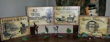 Primitive Christmas Signs Set of 4 Vintage Labels Shabby Santa Claus Reindeer
