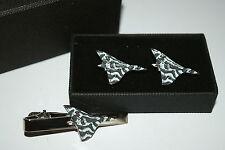 Vulcan Bomber Aeroplane Cufflinks & Tie Clip Set GIFT Boxed enamel RAF WW11