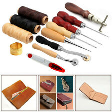 Sewing Leather Craft Tools Kit 14 pcs Awl Waxed Thimble Needle Scissor