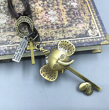 Men Retro Metal Elephant Head Key pendant Genuine Leather Surfer Choker Necklace
