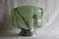 A Superb Vintage French Art Deco Mottled Glass Shade & Fitting Ceiling Light