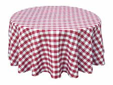 Wine Red White Tablecloths: Gingham Checkered Design 70 Round