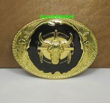 1 x mens ladies belt buckle metal alloy jeans bull steer gold cowboy longhorn