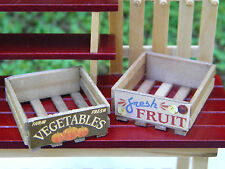 Miniature Dollhouse FAIRY GARDEN Accessories ~ Wood Fruit & Vegetable Crates NEW