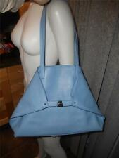AKRIS Ai Calf Leather Foldover Trapezoid Shoulder Tote Shopper Bag Blue $1670