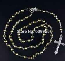 Rosary Beads INRI JESUS Cross Crucifix Pendant Necklace Catholic Fashion