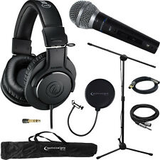 M20x Headphones Audio-Technica Professional Monitors & Technical Pro Mic Bundle