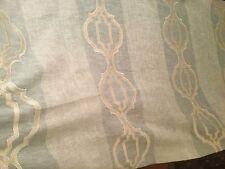 """3yd COLEFAX & FOWLER """"Marnie"""" Aqua Linen Fretwork Sheer Stripe Fabric F4117-01"""