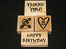 1997 Stampin Up! Set of 4 Rubber Stamps Bold Greetings Thank You Happy Birthday