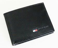 NEW TOMMY HILFIGER BLACK LEATHER PASSCASE CARD BILLFOLD ID MEN'S WALLET